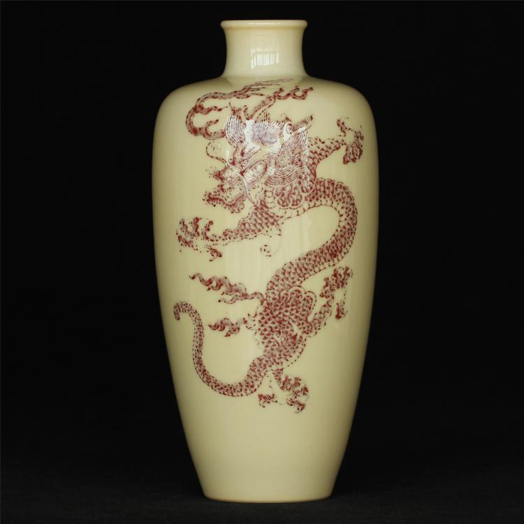 Underglaze red porcelain vase of Qing Dynasty KangXi mark .