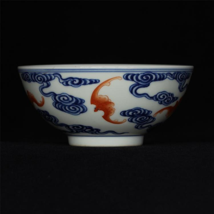 Blue and white & red color porcelain bowl of Qing Dynasty QianLong mark .