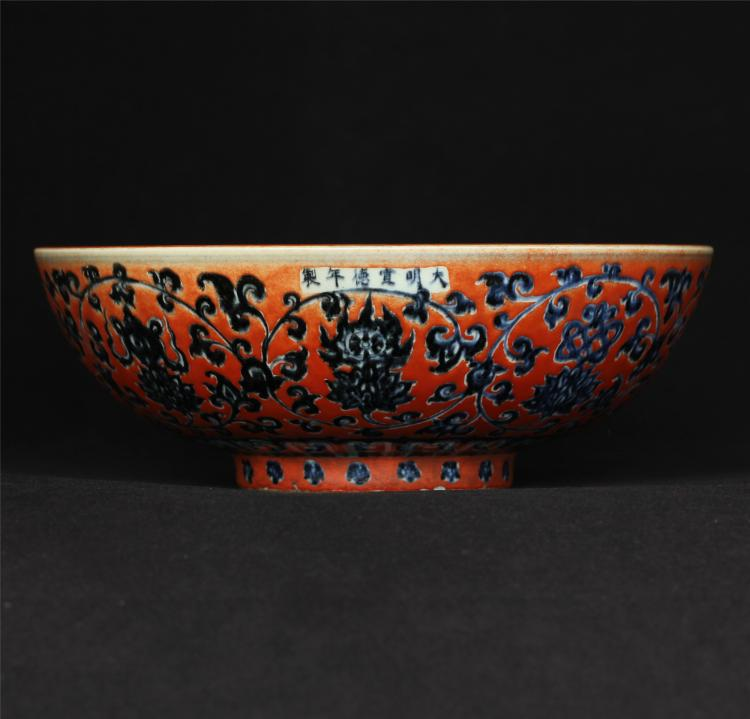 Blue and white & red color porcelain bowl of Ming Dynasty XuanDe mark.