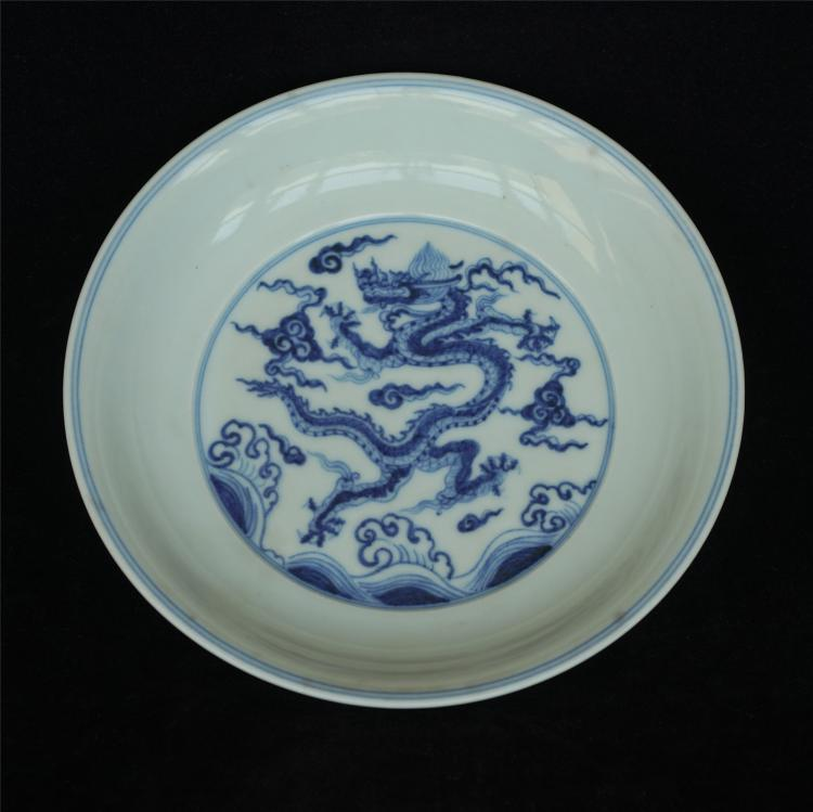 Blue and white porcelain plate of Ming Dynasty XuanDe mark.
