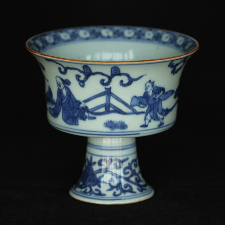 Blue and white porcelain chalice of Ming Dynasty JiaJing mark.