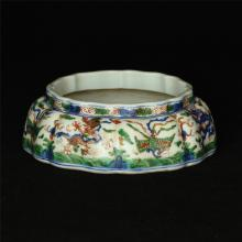 Blue and white & color porcelain brush washer of Ming Dynasty JiaJing mark.