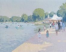 Ronald Morgan (b.1936) - Oil on board - By The Serpentine, S