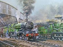 Colin Verity (1924-2011) - Oil on board - Two Great Western steam locomotives at Bristol Temple Mead