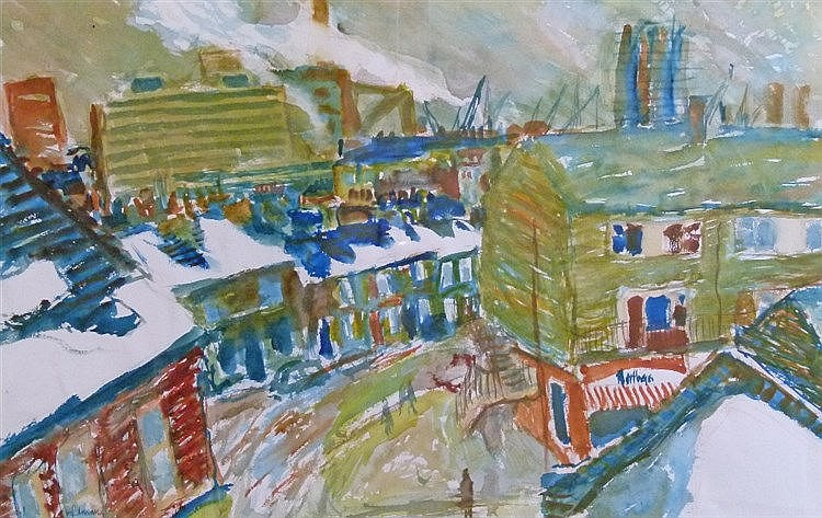 Hans Schwarz (1922-2003) - Watercolour - Last Snow Priok Street SE10, signed and dated '86, 44.5cm x