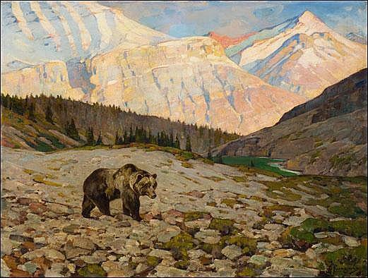 Rungius, Carl: Grizzly Bear Signed l.r. O/C 30x40