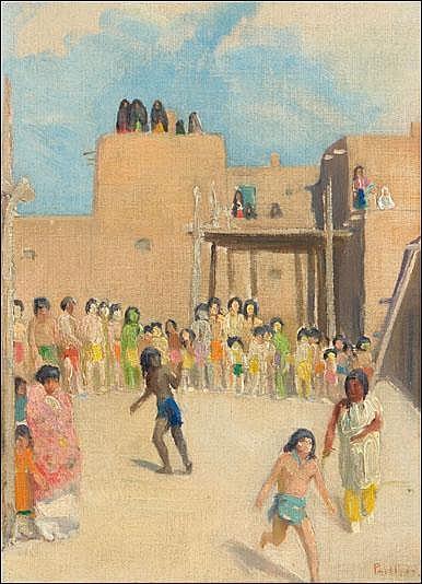 Phillips, Bert Geer: Fun at the Pueblo Signed l.r.