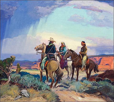 Borg, Carl Oscar: The Navajo Horseman 1945 Signed