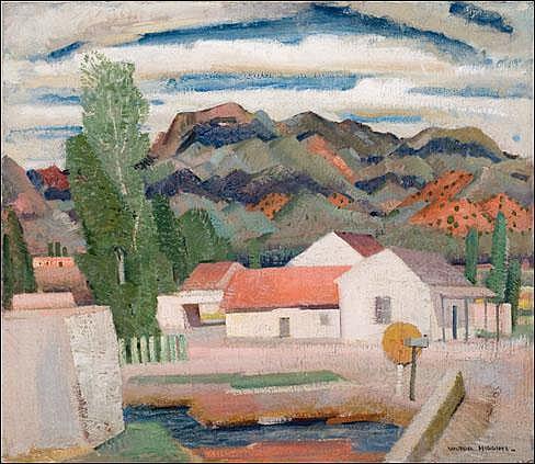 Higgins, Victor: Mountain Village c. 1936 Signed