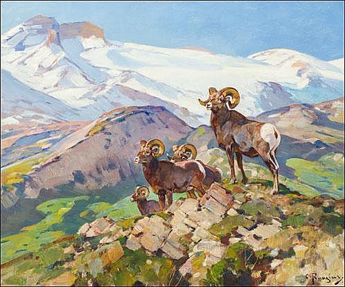 Rungius, Carl:  Big Horns  Signed l.r. O/C  25x30