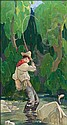 Dunton, W. Herbert: Fisherman in a Stream Signed, W Herbert Dunton, Click for value