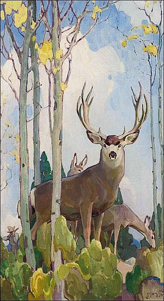 Dunton, W. Herbert: Mule Deer Buck and Doe Signed