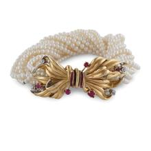 Torchon bracelet with water pearls  peso 64,4 gr.