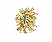 A Cartier 18kt gold brooch with flower pattern