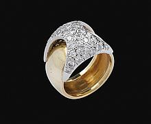 An 18kt gold and white gold ring with diamonds
