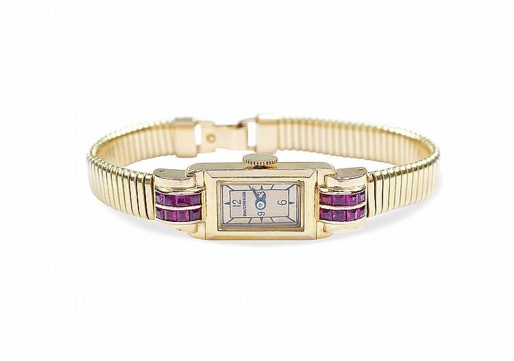A Boucheron 18kt gold bracelet watch