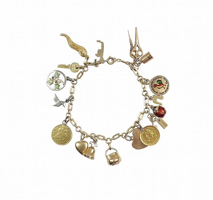 A gold and polychromatic enamel bracelet