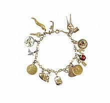 A gold and polychromatic enamel bracelet