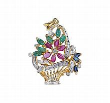 An 19kt gold flower basket shaped pendant and brooch