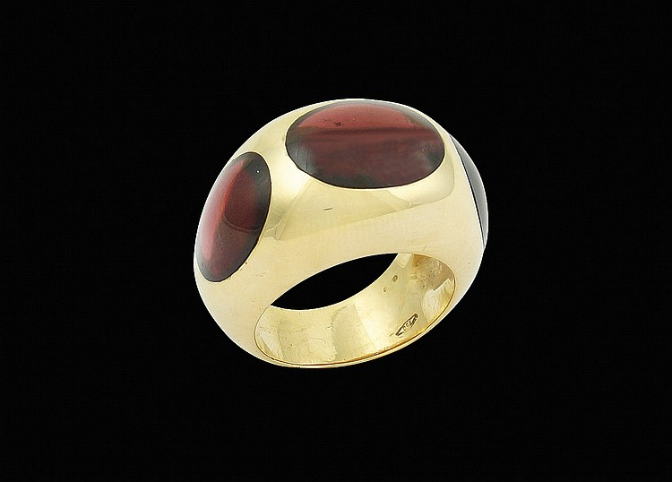 An 18kt gold Pomellato ring with pink tourmaline