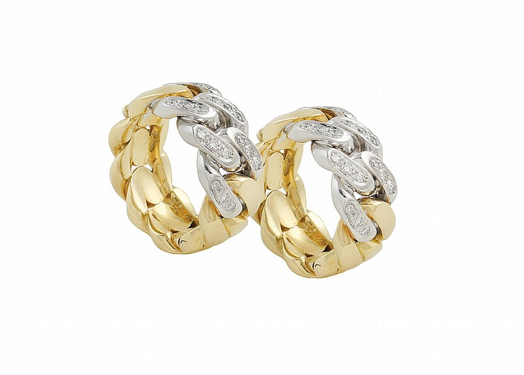 A pair of 18kt two colors gold Pomellato earrings