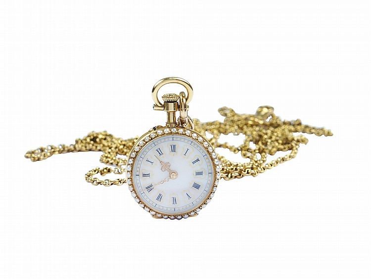 An 18kt gold and guilloche enamel pocket watch