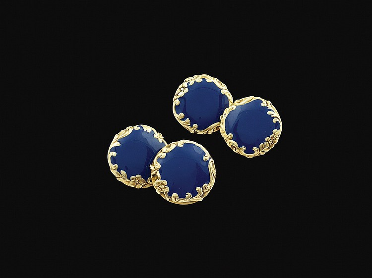 A pair of 14kt gold and enamel Liberty cufflinks
