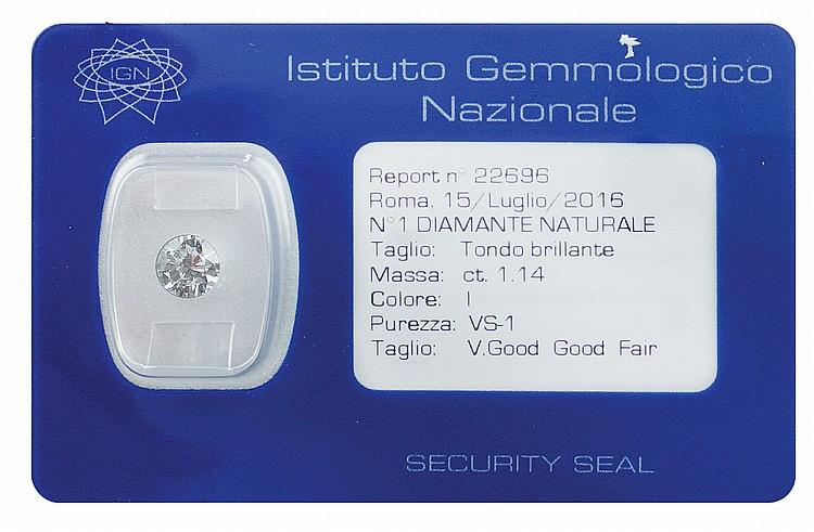 A 1,14 ct brilliant-cut diamond in blister
