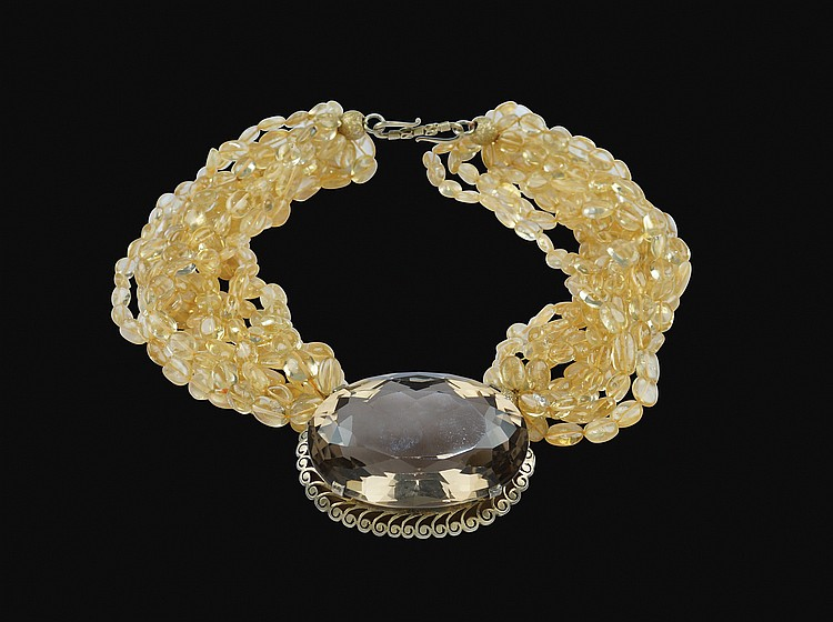 A torchon and silver-gilt collier