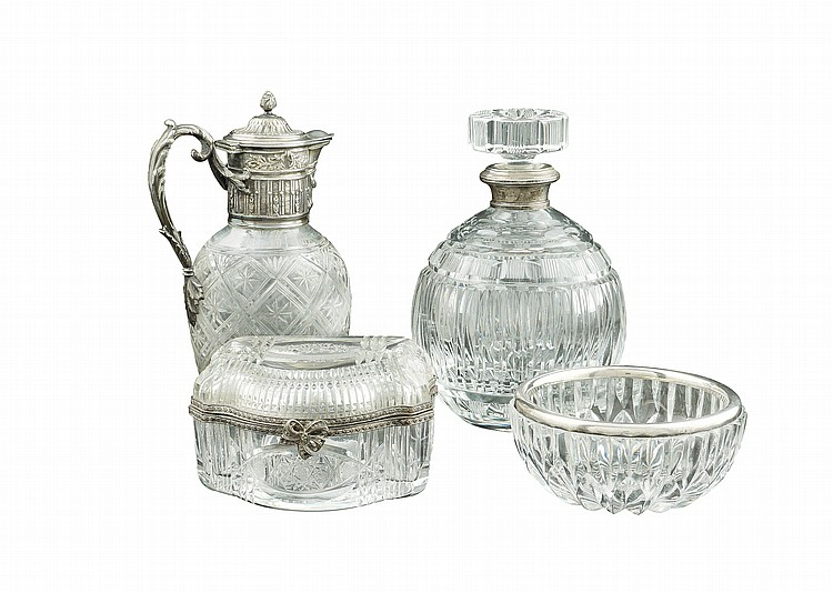 A refined crystal and silver plated lot