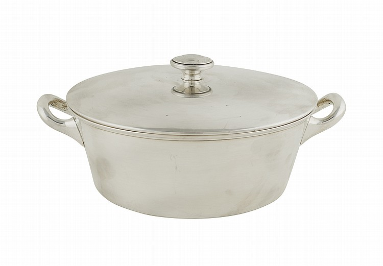 An Italian silver pan with cover