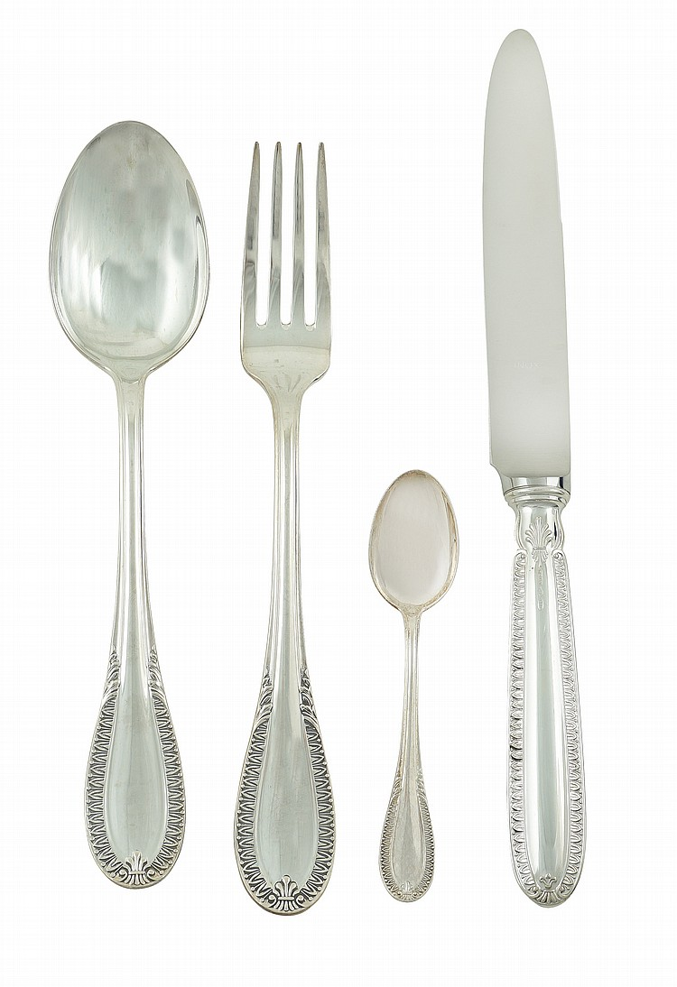 An empire style silver flateware service (47)