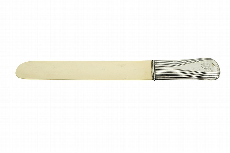 An Italian ivory and silver Deco letterknife