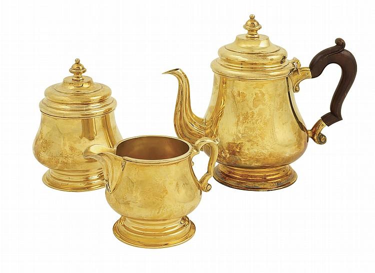 An Italian vermeil silver tea service