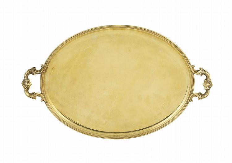 A vermeil silver tray