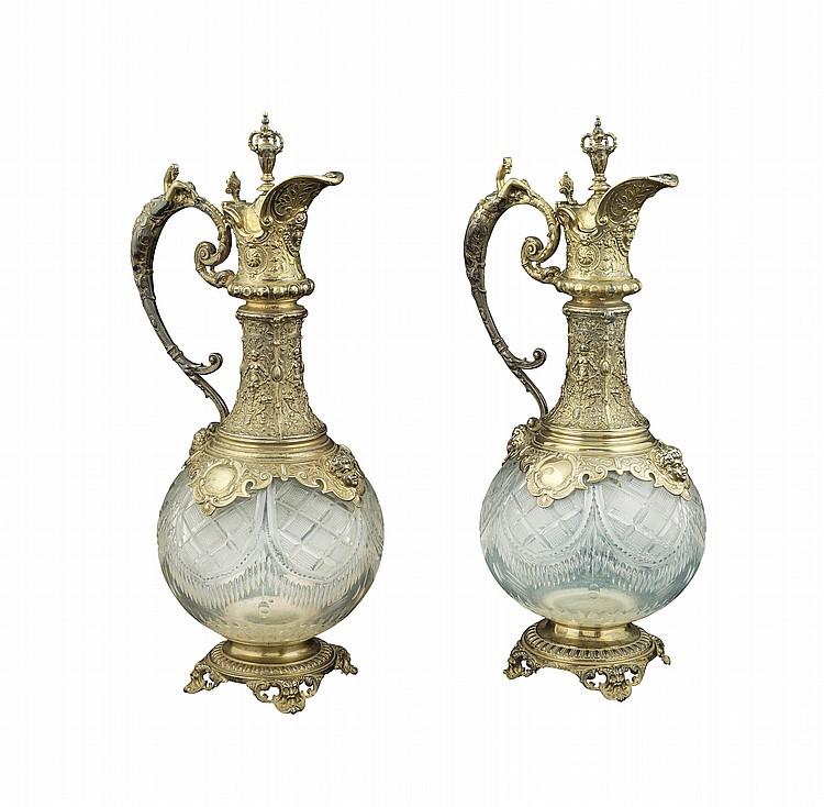 A pair of vermeil silver flacons