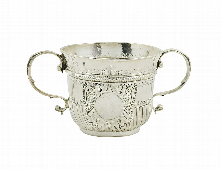 An English silver cup with two handles