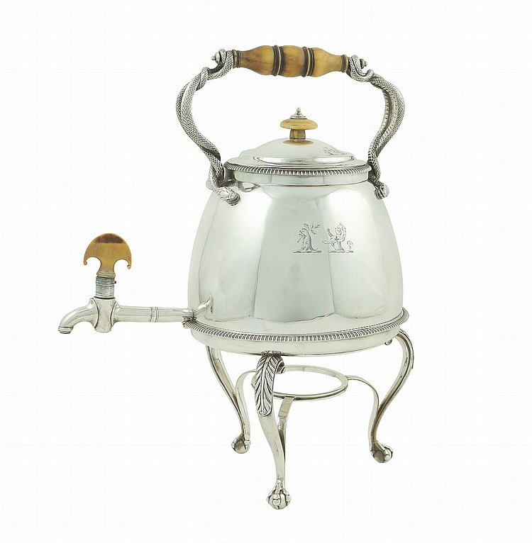 An English silver tea kettle