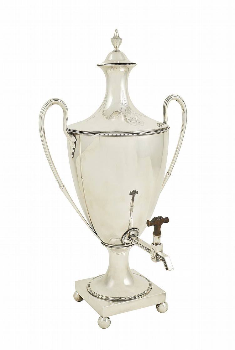 An English silver Samovar with two handles