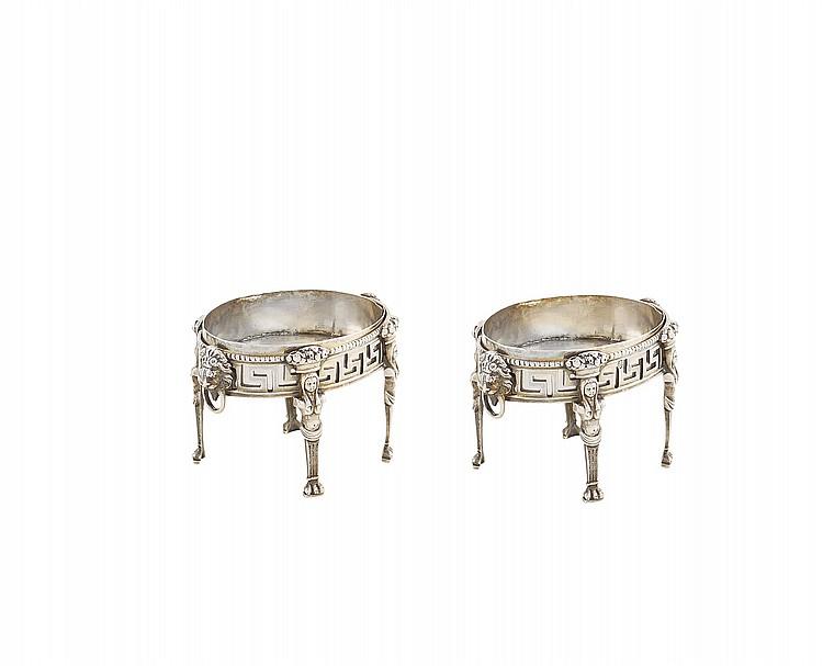 A pair of Italian silver saltcellars