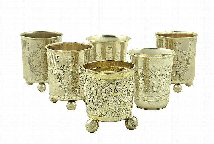 A Russian silver vodka glass set (6)