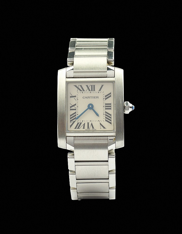A Cartier Tank Francaise Lady steel wrist watch