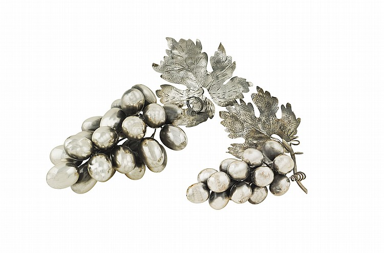 A pair of Italian silver grapes