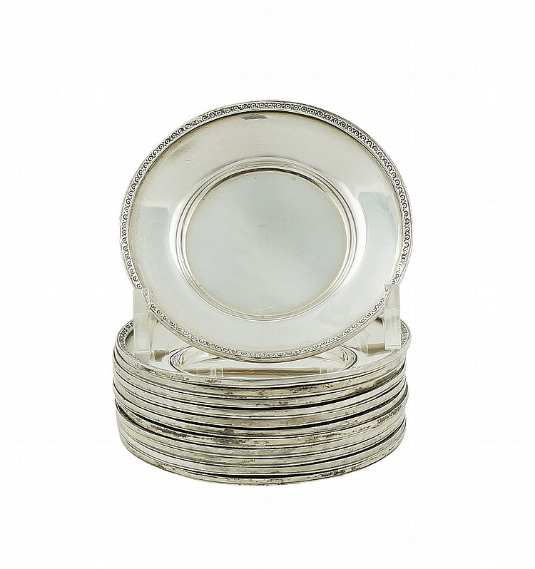 a set of Italian silver bread plates (12)