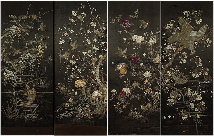 Four Chinese silk and gold panels