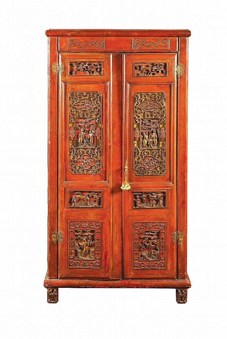 A Chinese lacquered wood cabinet