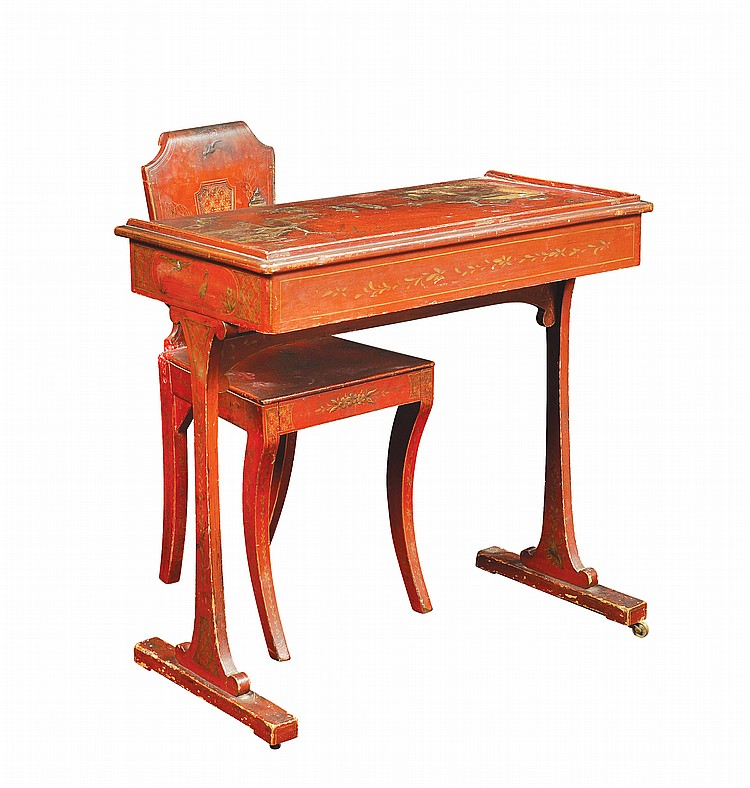 A Chinese lacquered wood desk