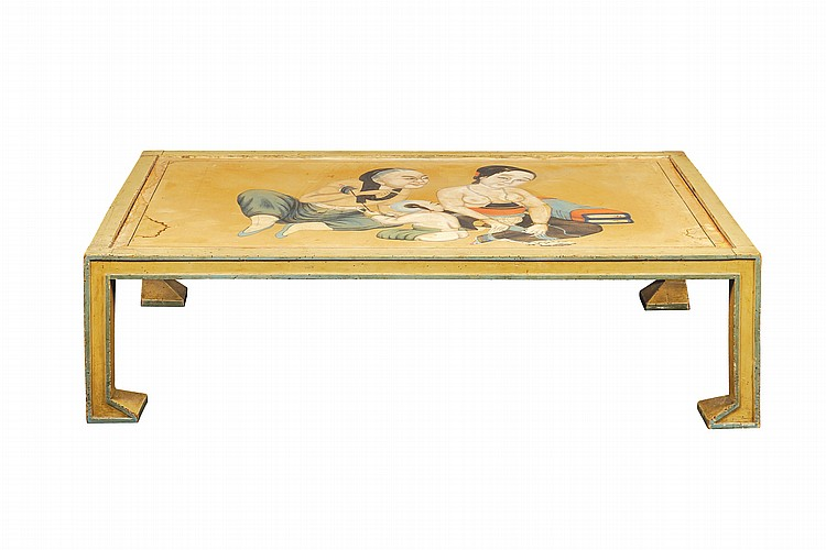 A lacquered wood table