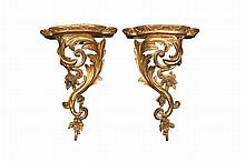 A pair of Italian gilt wood wall brackets