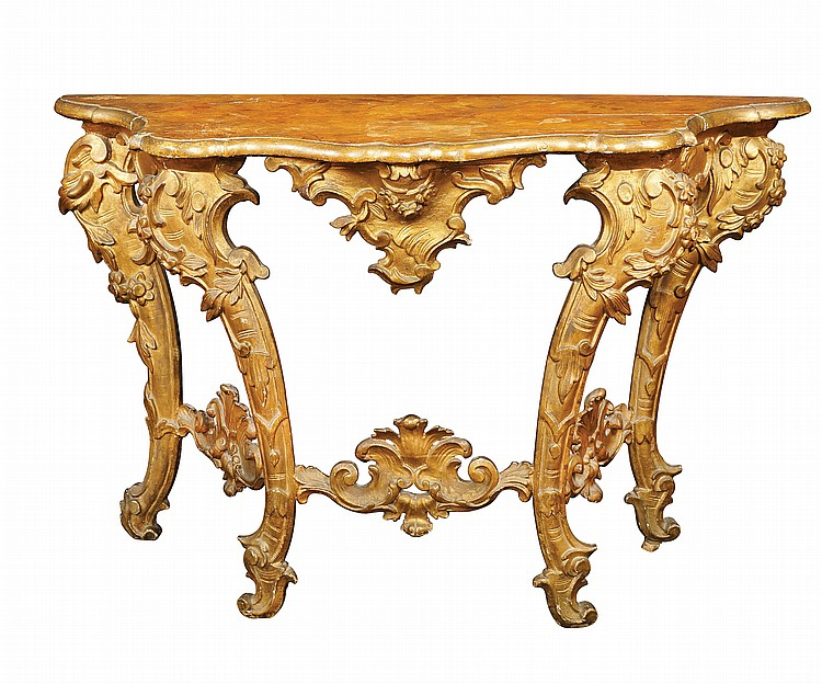 A lacquered and gilt wood table